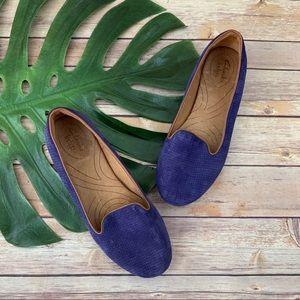 Clarks Indigo purpley blue suede loafer flats